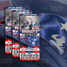 2.5x6 New England Patriots Sports Party by sportsinvites