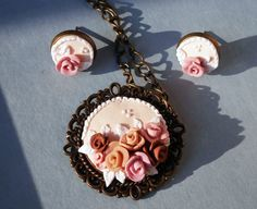 Rose cabochon pendant, earrings, polymer clay jewelry, cabochon pendant, shabby chic, polymer clay pendant