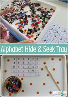 Alphabet Games - Hide and Seek Tray - Looking for Alphabet letters hiding amongst the scattered buttons is a great way for kids to play and learn with alphabet letters.  Children will love to sift through buttons with paint brush and 'spot' the hiding letter stickers.
