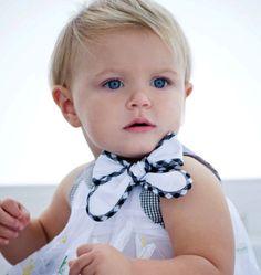 Vestido de bebê menina moda estilo navy laço (Vestidos: Monnalisa)