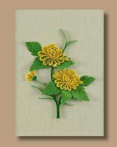 Framed Quilling Paper Wall Hanging/Table Top - Yellow Mum Flowers