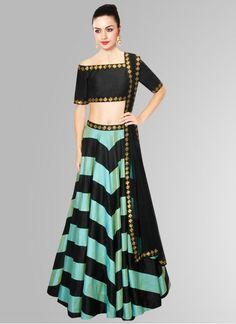 Khantil Black & Aqua Banglori Silk Navratri Special Designer Lehenga Choli…