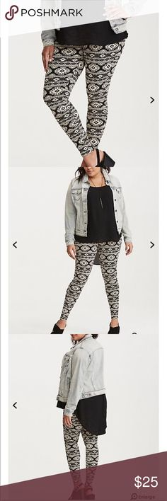 NWT torrid tribal geo print leggings NWT torrid tribal geo print leggings  Leggings are usually meant for lounging, but the ivory geo print on this pair definitely needs to be seen at your next music fest. The clingy black knit has a second-skin fit with a stretchy waistband and tapered leg. torrid Pants Leggings