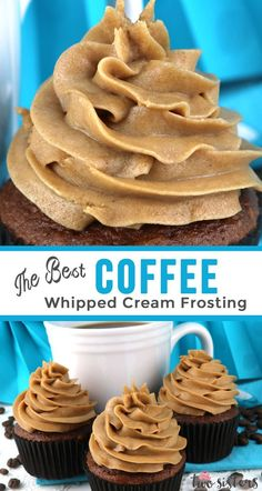 Best Coffee Whipped Cream Frosting The Best Coffee Whipped Cream Frosting - light and airy Coffee flavored frosting that tastes just like Whipped Cream. Perfect for when you need a frosting a little lighter than buttercream. This frosting holds its shape, Köstliche Desserts, Delicious Desserts, Dessert Recipes, Homemade Cupcake Recipes, Dessert Food, Homemade Breads, Recipes With Whipping Cream, Cream Recipes, Frost Cupcakes