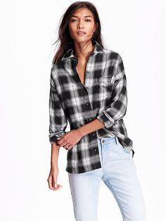 Women's Plaid Flannel Boyfriend Shirt Product Image