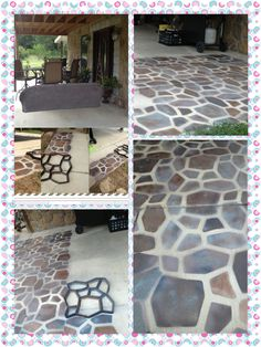 "A STONE PATIO FLOOR, with spray paint?  I previously posted this project I've started on Pinterest, and I promised an update as I continued the project.  It's easy and fun, and it looks so real!!  Basically, you need a concrete mold and various colors of spray paint, and ""ta da!"" You are ready to begin!"