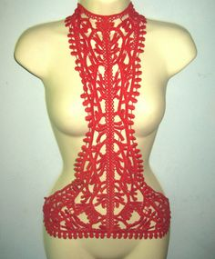 Harness body chain steampunk silver and red by WhiteLotusCouture, $49.00