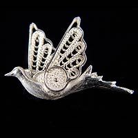Silver filigree brooch pin, 'Filigree Dove'