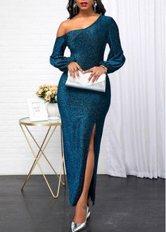 Women'S Peacock Blue Sequin Long Sleeve Skew Neck Evening Party Dress Solid Color Side Slit Maxi Dress By Rosewe Long Sleeve Peacock Blue Skew Neck Elegant Dresses, Sexy Dresses, Blue Dresses, Dress Outfits, Beautiful Dresses, Dressy Dresses, Summer Dresses, Nye Outfits, 1950s Dresses