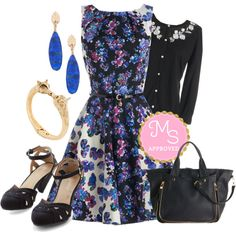 In this outfit: Luck Be a Lady Dress in Kaleidoscope Garden, Exquisite and Talk Cardigan in Black, Everyday Adventures Bag, Flair for Your Flock Earrings, Be the Forest to Know Bracelet, Currant Scones Heel in Black #chic #feminine #party #outfits #fashion #2014 #colors #cotton #floral #dresses #colorful #workappropriate