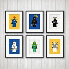 Ninjago Decor - Cartoon Decor, Boy's Room Decor, Playroom, Ninja Prints, Ninjago Art, Ninjago Decorations, Boys Bedroom Art