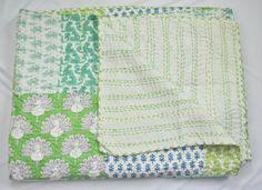 Twin Kantha Quilt Handmade Indian Block Print Patch Work Aqua Green Blanket Throw Bedcover - Sofa Throw  - Bohemian Home Decor - Bedspread