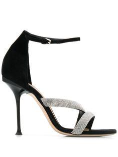 Sergio Rossi Women's Milano Embellished High-heel Sandals In Black Black Leather Sandals, Black Sandals, Women's Sandals, Sergio Rossi Shoes, Fab Shoes, Hot High Heels, Kinds Of Shoes, Open Toe, Stiletto Heels