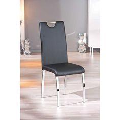 Chaise design simili cuir coloris noir