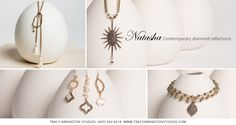 The Natasha Collection offers stunning pave set diamonds, organic black diamonds, very rare Japanese saltwater Keshi Pearls, baroque pearls, moonstone slices, and faceted pyrite. The designs are elegant and sophisticated while still remaining understated and very wearable. Available at many fine retailers. To located a store near you visit our website at www.tracyarringtonstudios.com.