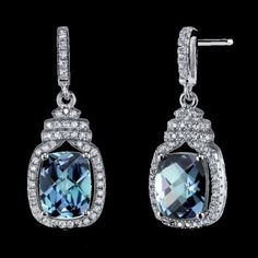 Alexandrite Cushion Cut Cubic Zirconia Halo Crown Sterling Silver Earrings