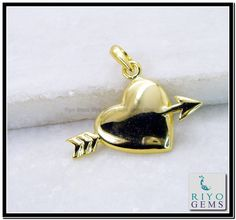 Love Heart Arrow plain Gold plated Fashion pendant from Riyo Gems http://www.riyogems.com