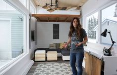 "These space-maximizing strategies are relevant to many of us, so it's always enjoyable to come across new ideas, such as the ones implemented in this elegant small dwelling by Alaskan self-taught carpenter, blogger, mom and free-DIY-plans extraordinaire Ana White. Together with her husband Jacob, Ana created a surprisingly spacious 24-foot-long tiny house for a client that is jam-packed with clever, transforming furniture ideas and an affordable DIY ""elevator bed""."