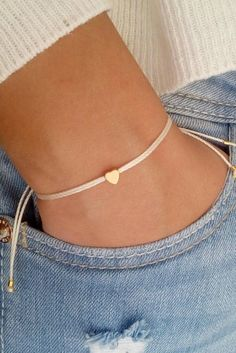 Tiny heart bracelet wish bracelet gold bracelet friendship