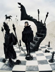Edie Campbell poses on the chessboard for Vogue Italia December 2015 by Tim Walker [fashion]