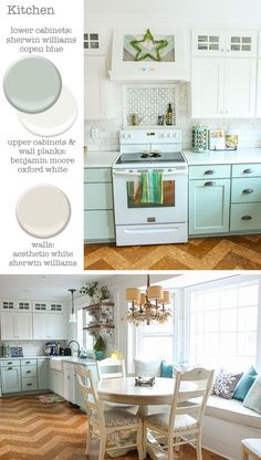 Kitchen - Cabinets: Sherwin Williams Copen Blue and Benjamin Moore Oxford White - Walls: Sherwin Williams Aesthetic White Pretty Handy Girl Blue Kitchen Cabinets, Upper Cabinets, Painting Kitchen Cabinets, Modern Grey Kitchen, Grey Kitchen Designs, Kitchen Black, Minimalist Kitchen, Organizing Hacks, Paint Colors For Home