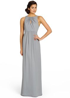 Alternate View  Pewter crinkle chiffon A-line bridesmaid gown, cross-over key hole draped bodice, natural waist with soft gathered skirt.
