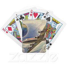 Custom Playing Cards ~ Vintage Airplane Flying Around the World in Clouds Card Deck from Zazzle.com