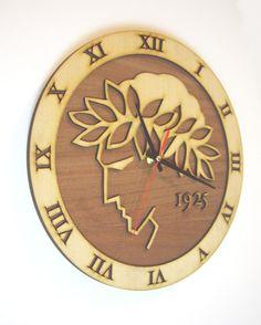 Wooden wall clock OLYMPIAKOS F.C.