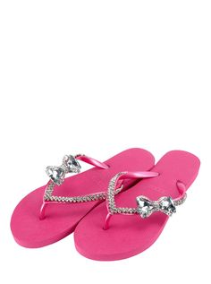 pink flip flops with bling