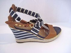 Sperry Top-Sider Aurora Wedge Women's Sandals Navy Breton Stripe Cognac 9.5 M #SperryTopSider #PlatformsWedgesOpenToe #AnyOccasion