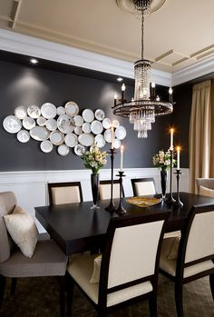 beautiful dining room with unique chandelier Outdoor Dining Chair Cushions, Black Dining Room Chairs, Chandelier, Ceiling Lights, Lighting, Home Decor, Homemade Home Decor, Pendant Lighting, Light Fittings