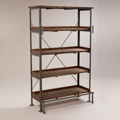 "Emerson Shelf with Step | World Market | 44""W x 21.3""D x 70.9""H Shelf: 40""W x 14""D x 15.25""H each Floor to top of bottom shelf: 9.75""H Floor to front step bar: 8""H Floor to side of step bar: 8.25""H"