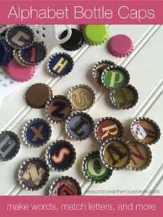 alphabet bottle caps