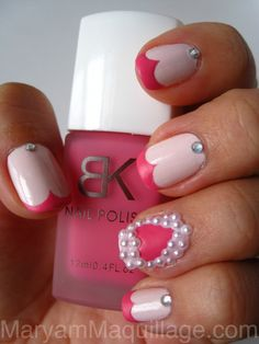 Cute! Matte dull nail enamel in Pink by BornPretty Store and Sinful Colors Easy Going. vday idea