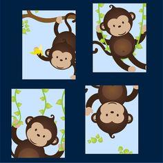 Monkey Nursery Art for boy Set of Four 8x10 by LittlePergola