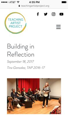 There's nothing more important than #reflection in a well-planned lesson. 2017 #TeachingArtistProject Graduate Tina Gonzalez discusses the importance of building in reflection in this #blog. There's still time to apply for #TAP 2017-18. Deadline Wednesday: teachingartistproject.org. #TAPCohort #TeachingArtist #BecauseofArtsEd #Artist #Writer https://www.teachingartistproject.org/single-post/2017/09/18/Building-in-Reflection