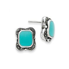 Sterling Silver Marcasite and Reconstituted Turquoise Earrings