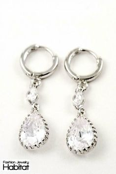 Clear Crystal Pear Shaped Earrings - $16.80 at FashionJewelryHabitat.com #FashionJewelryHabitat #FashionHabitat
