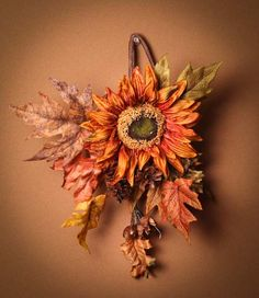 Fall Harvest Sunflower and Mixed Autumn Foliage