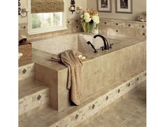 Luxurious stone tile bathroom design
