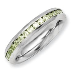Women's Stainless Steel Light Green CZ August Birthstone Ring Jewelry Available Exclusively at Gemologica.com