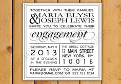 Typography Clean Engagement Invite - DIY I Customize You Print. $15.00, via Etsy.