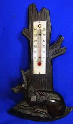 Vintage German Wood Carved Black Forest Deer Thermometer Wall Ornament #AO