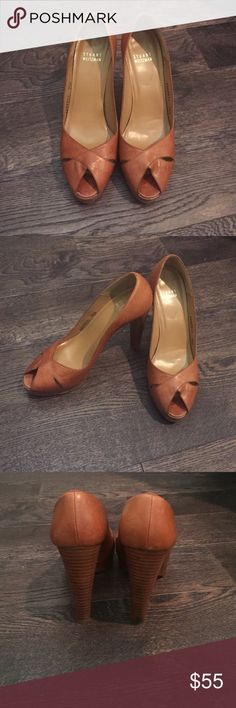 STUART WEITZMAN leather platform peep toe heels. Worn by a shoe lover with many more miles to go. Size 7.5 M but fit is snug so more like a 7.  4.5 inch stilleto with 1 inch platform. Stuart Weitzman Shoes Platforms