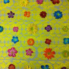 tela Jardim de Flores em pintura acrilica  e tecnica mista 2013 - 60x100 -  acrylic on canvas - Melina Ollandezos