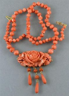 Antique Chinese Natural Coral Carved Flower Bead Drop Sterling Necklace Salmon | eBay