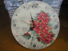 Handmade decoupage clock with poinsettia motif
