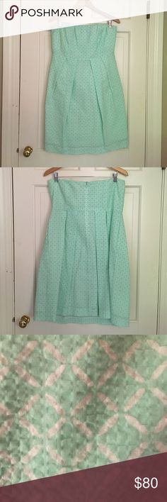 Mint & White Patterned Strapless Sundress I wore this for Easter one year, it has been hanging in my closet since. In perfect condition. J. Crew Dresses Strapless