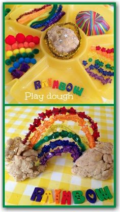 rainbow play dough and other materials/items to explore with