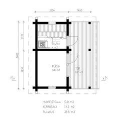 Saunan ja pukuhuoneen pohjapiirustus, hirrestä rakennettu Floor Plans, Diagram, Floor Plan Drawing, House Floor Plans